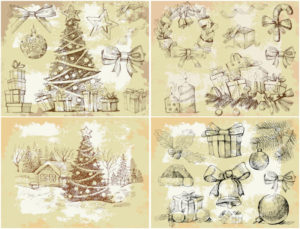 vintage-christmas-design-elements-vector